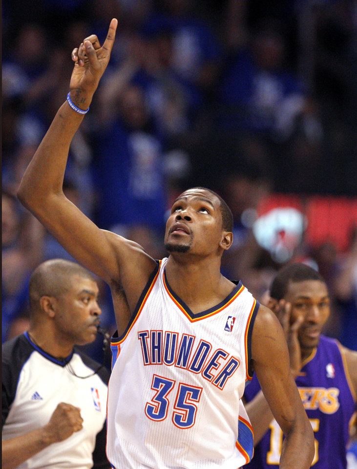 Oklahoma City's Kevin Durant (35) celebrates during Game 1 in the second round of the NBA playoffs between the Oklahoma City Thunder and the L.A. Lakers at Chesapeake Energy Arena in Oklahoma City, Monday, May 14, 2012. Photo by Sarah Phipps, The Oklahoman