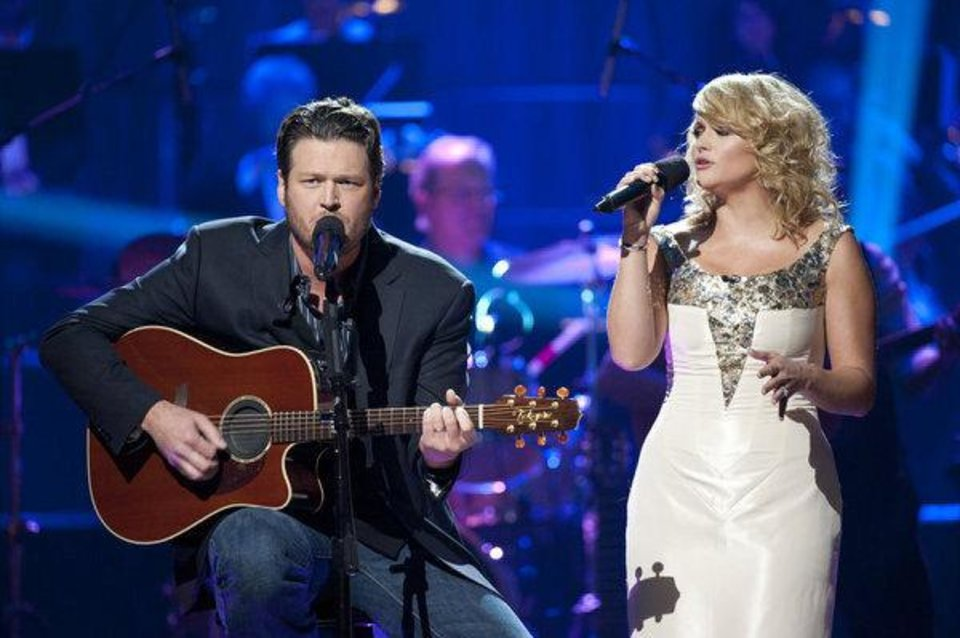 Oklahoma country music superstar Blake Shelton and his Grammy-winning wife, Miranda Lambert, will perform a yuletide duet on his Christmas special.  Photo by Lewis Jacobs/NBC