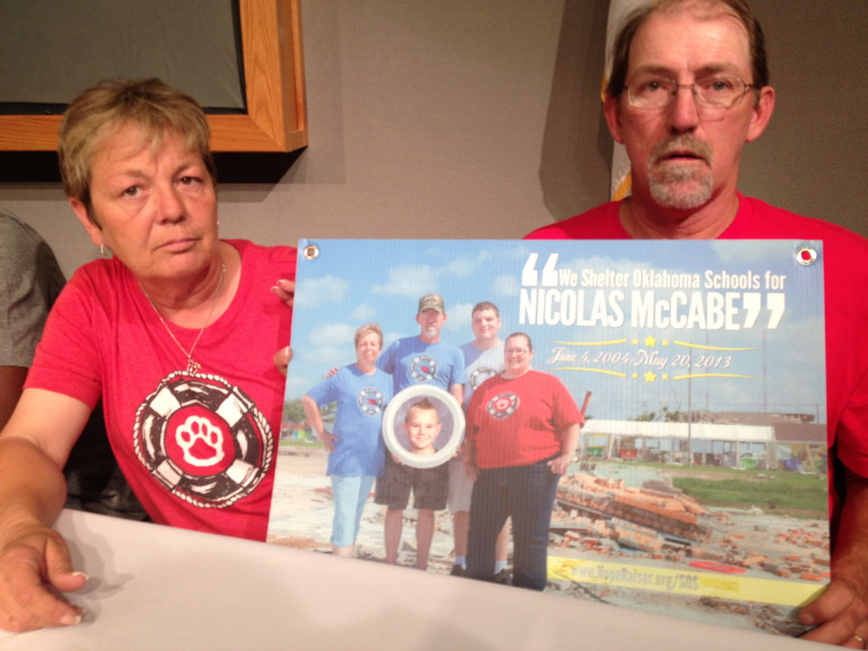 Photo - Stacey and Scott McCabe lost their son Nicolas on May 20 at Plaza Towers. They want Oklahoma schools to have shelters or safe rooms. Photo by Juliana Keeping, The Oklahoma