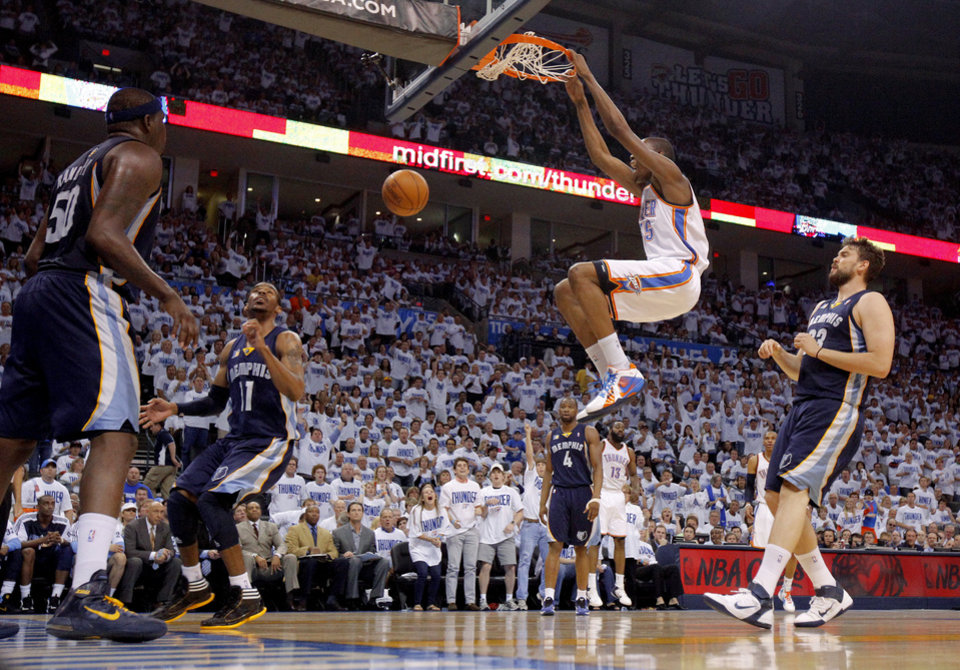 Oklahoma City's Kevin Durant (35) dunks the ball during game five of the Western Conference semifinals between the Memphis Grizzlies and the Oklahoma City Thunder in the NBA basketball playoffs at Oklahoma City Arena in Oklahoma City, Wednesday, May 11, 2011. Photo by Bryan Terry, The Oklahoman