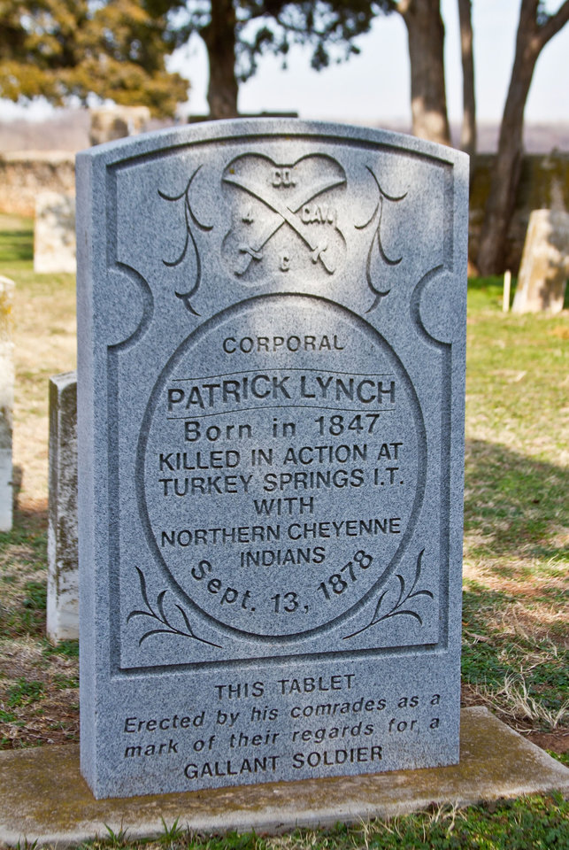 Headstone erected by a young trooper's comrades at Ft. Reno. KIA at the Battle of Turkey Springs 1878. Last known battle between American Indians and the U.S. Cavalry in Oklahoma. Photo by Lindell Dillon