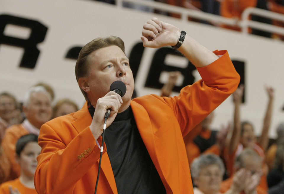 OSU women's coach Kurt Budke speaks before the women's college basketball game between Oklahoma State University and the Texas Tech University at Gallagher-Iba Arena in Stillwater, Okla., March 1, 2008. BY MATT STRASEN, THE OKLAHOMAN