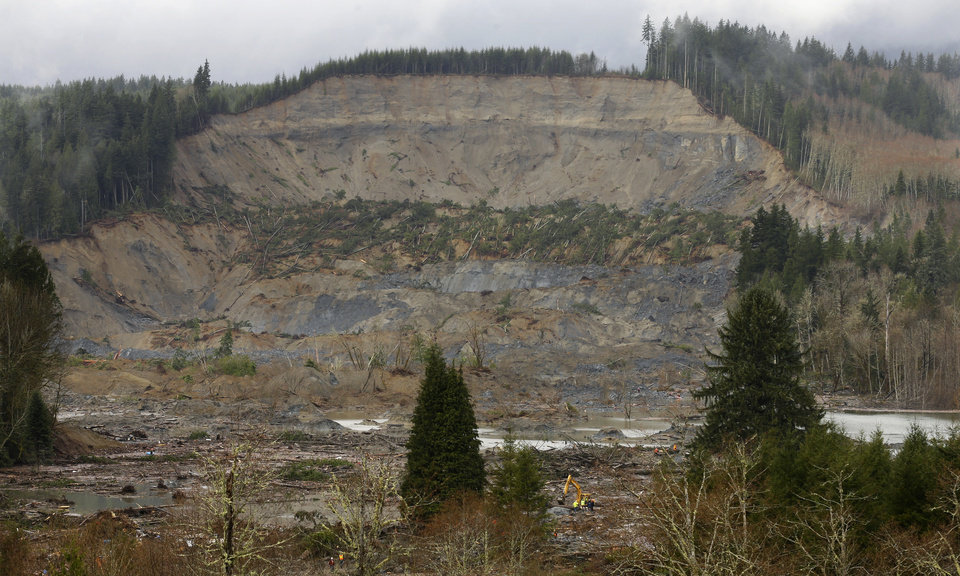 Photo - The massive mudslide that struck last Saturday near Darrington, Wash. is seen as viewed from a ridge, Thursday, March 27, 2014. Search efforts continued Thursday, including the use of heavy machinery seen at the bottom of the photo to move trees and other debris. (AP Photo/Ted S. Warren, Pool)