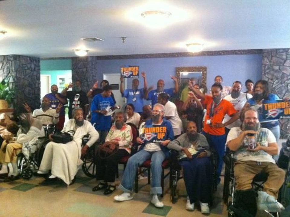 Residents and employees at Grace Living Center Wildewood in Oklahoma City, Okla., don beards to cheer on the Oklahoma City Thunder during the NBA Finals.