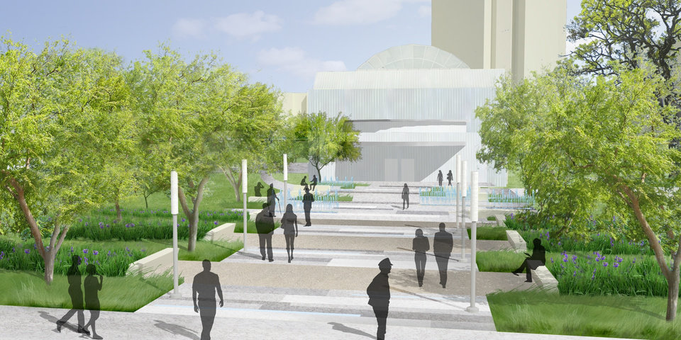 Photo - IMPROVE / IMPROVEMENTS / MAKEOVER: Plans for the Myriad Gardens makeover include a new south grand entryway facing Reno Avenue where there is an unsightly parking lot and loading area. PROVIDED BY OKLAHOMA CITY PARKS DEPARTMENT     ORG XMIT: 0910082232030470