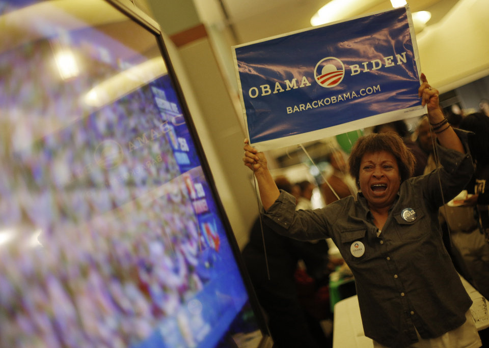 Roseanna Angelo reacts as President Obama wins the 2012 election during the Oklahoma Democratic Party watch gathering at the Reed Center in Midwest City, Tuesday, Nov. 6, 2012.  Photo by Garett Fisbeck, The Oklahoman
