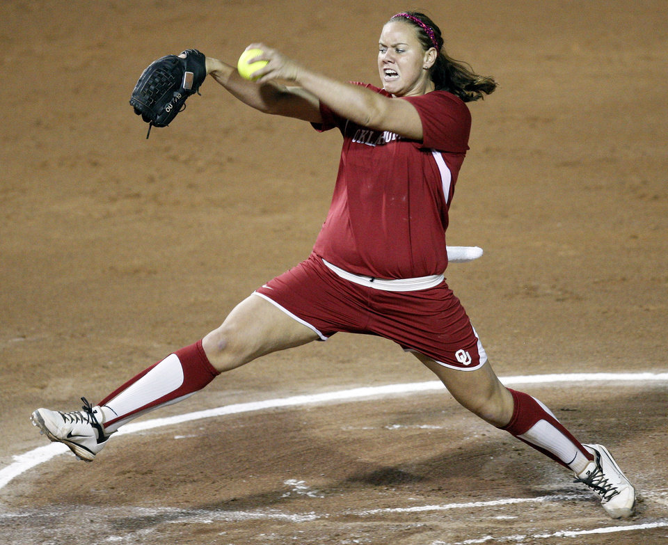 Oklahoma's Keilani Ricketts (10) pitches during Game 3 of the Women's College World Series softball championship between OU and Alabama at ASA Hall of Fame Stadium in Oklahoma City, Wednesday, June 6, 2012.  Photo by Nate Billings, The Oklahoman
