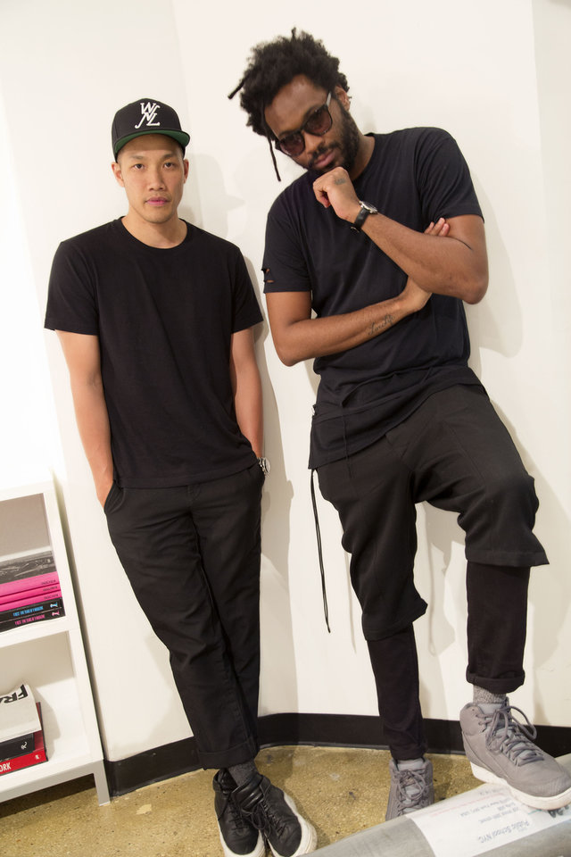 Photo - In this Thursday, May 22, 2014 photo, Dao-Yi Chow, left, and Maxwell Osborne, the designers behind Public School, pose for a portrait in their New York fashion studio. (AP Photo/Mark Lennihan)