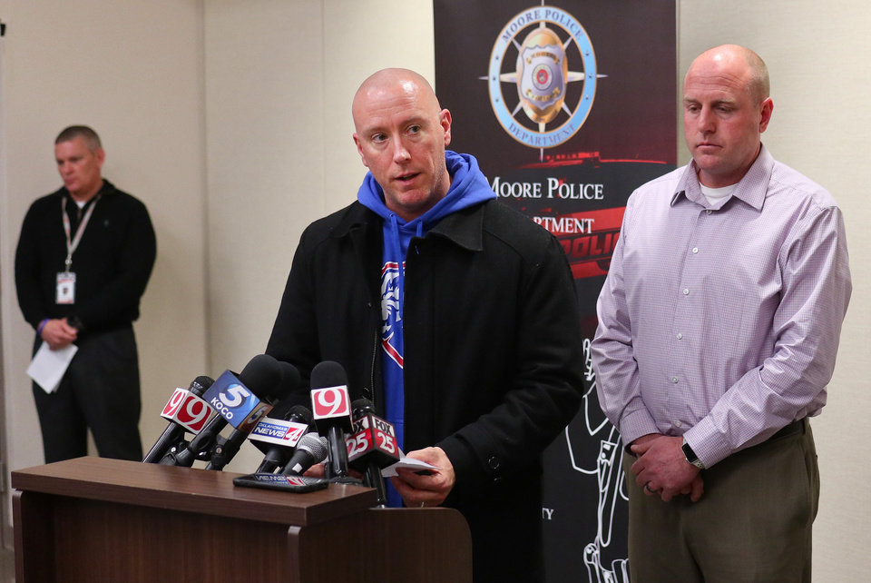 Photo - Moore police hold a news conference about the Moore High School students that were run over by a pickup truck Monday, on Tuesday, February 4, 2020. [Photo by Doug Hoke/The Oklahoman]