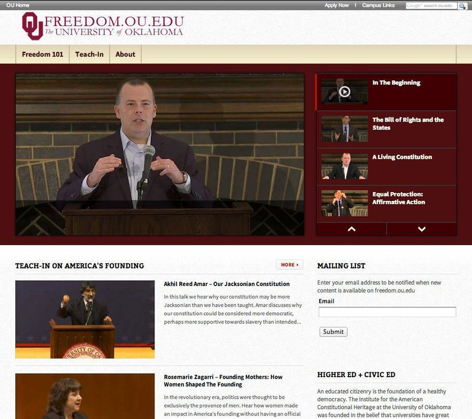 The University of Oklahoma is set to launch a new website, freedom.ou.edu, on Tuesday. A screenshot of a portion of the site�s home page is shown above. PHOTO PROVIDED