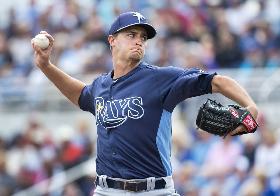 Tampa Bay Rays starter Jake Odorizzi pitches against the Toronto Blue Jays during the second inning of a spring training baseball game Friday, March 1, 2013, in Dunedin, Fla. (AP Photo/The Canadian Press, Nathan Denette)