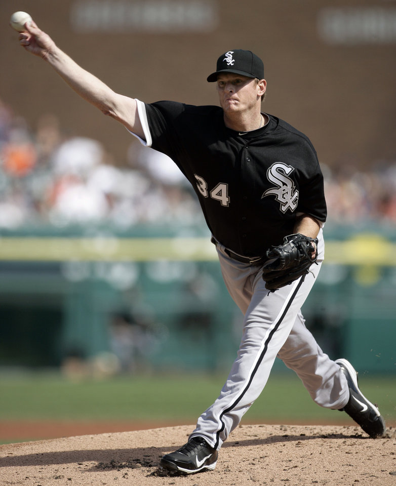 Chicago White Sox starter Gavin Floyd pitches against the Detroit Tigers in the first inning of a baseball game, Saturday, May 5, 2012, in Detroit. (AP Photo/Duane Burleson)