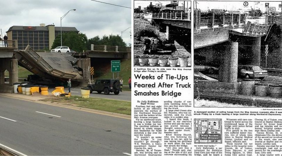 Photo - Left Photo via Brett Selby of Thursday's bridge collapse onto Northwest Expressway. Right Photo via The Oklahoman Archives