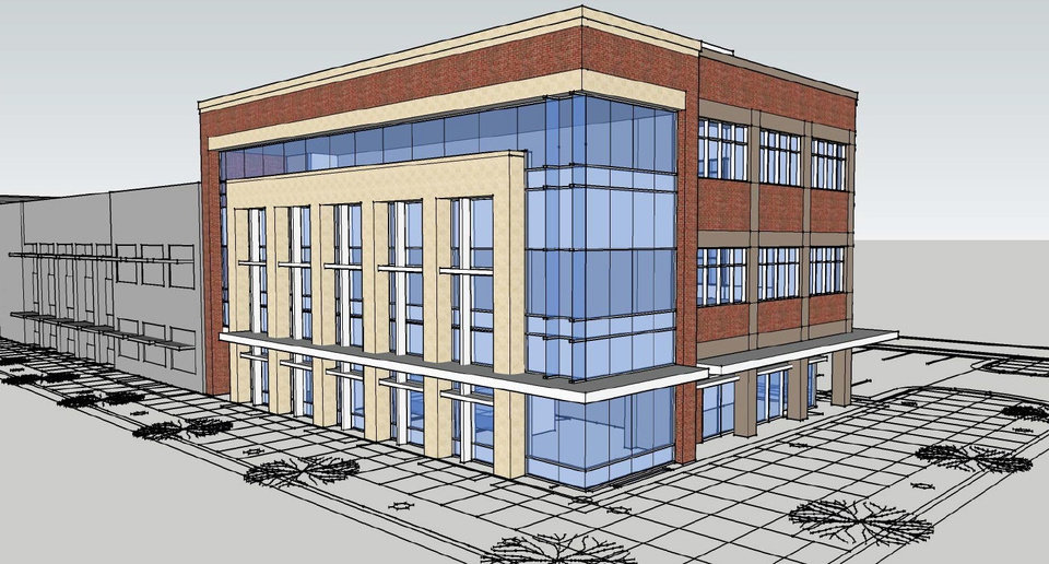 Photo -  Plans for the three-story addition to the Oklahoma City Community Foundation will be presented next month to the Downtown Design Review Commission. [Drawing provided]
