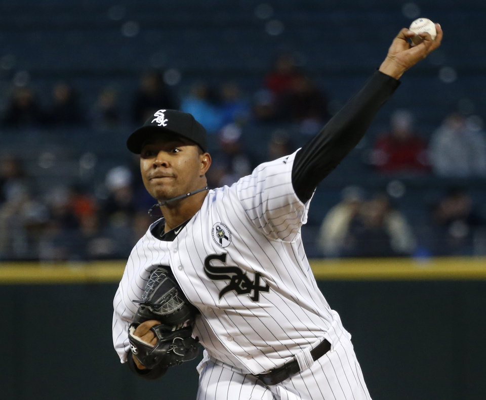 Chicago White Sox starting pitcher Jose Quintana delivers during the first inning of a baseball game against the Seattle Mariners, Friday, April 5, 2013, in Chicago. (AP Photo/Charles Rex Arbogast)
