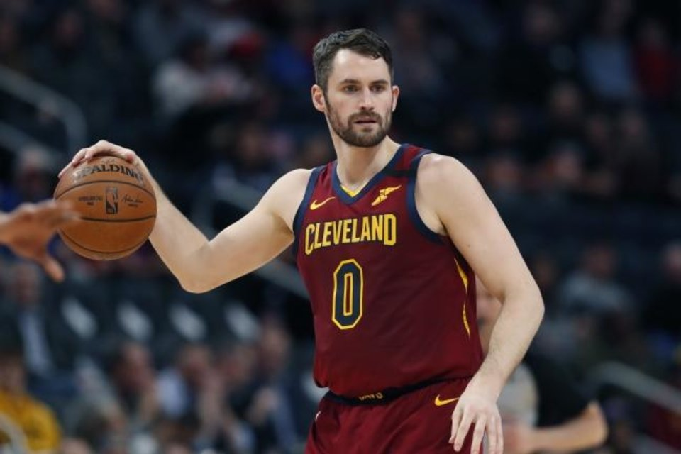 Photo -  Cavaliers forward Kevin Love started his charitable efforts by donating $100,000 to workers at his home arena in Cleveland within a day after the NBA season was suspended indefinitely March 11. [AP Photo/Carlos Osorio]