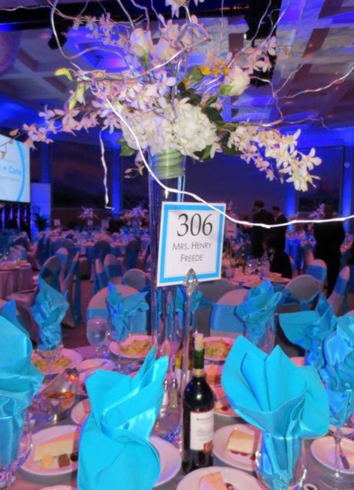 Table decorations at the Connect+Cure Gala benefiting the Harold Hamm Diabetes Center. (Photo by Helen Ford Wallace).