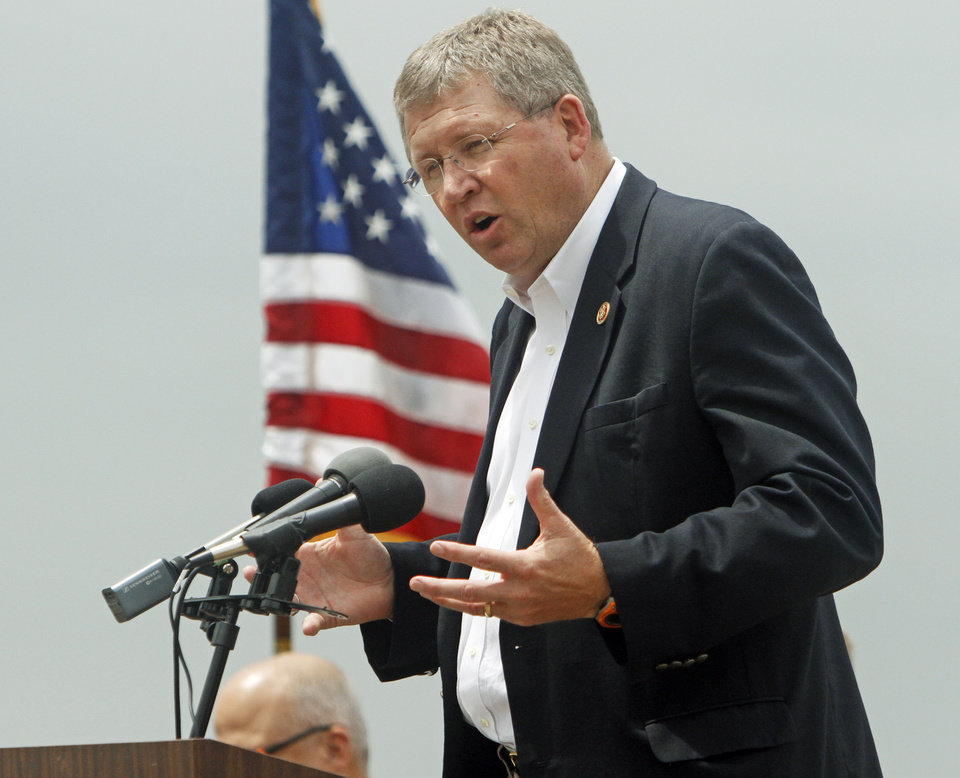 Photo -  U.S. Rep. Frank Lucas speaks Friday during the announcement ceremony for the Oklahoma watershed program held at Perry Lake. Photo by K.T. King, The Oklahoman   KT King -