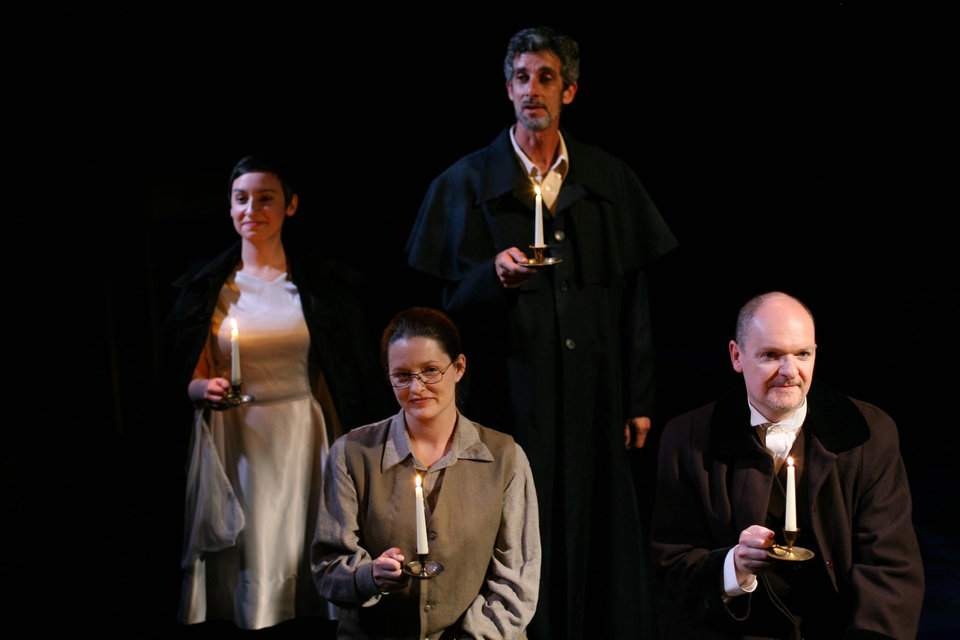 "Carly Conklin, Jeni White, Don Taylor, and Scott Hale in ""Jacob Marley's Christmas Carol"" performed at City Space Theatre. Photo provided"