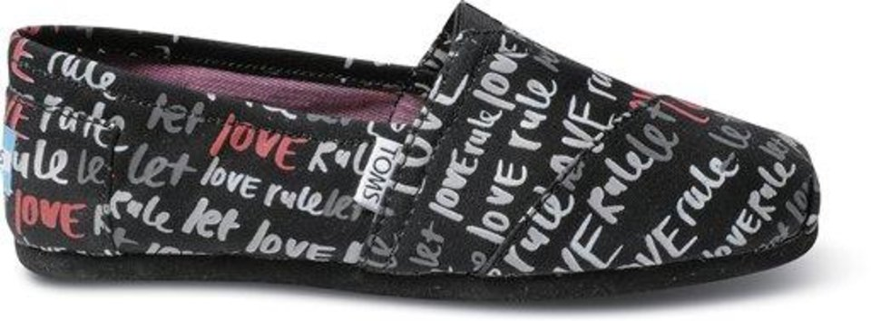This undated image provided by Toms shows a W-Pink Let Love Rule shoe from the spring-summer '12 collection. Music star Lenny Kravitz was the guest designer for the collection. (AP Photo/Toms)