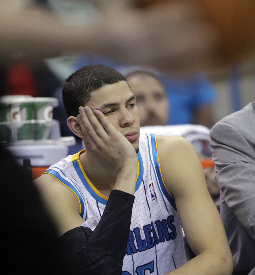 New Orleans shooting guard Austin Rivers (25) reacts in the second half of a NBA basketball game against the Indiana Pacers at the New Orleans Arena in New Orleans Saturday, Dec. 22, 2012. Indiana beat New Orleans 81-75. (AP Photo/Dave Martin)