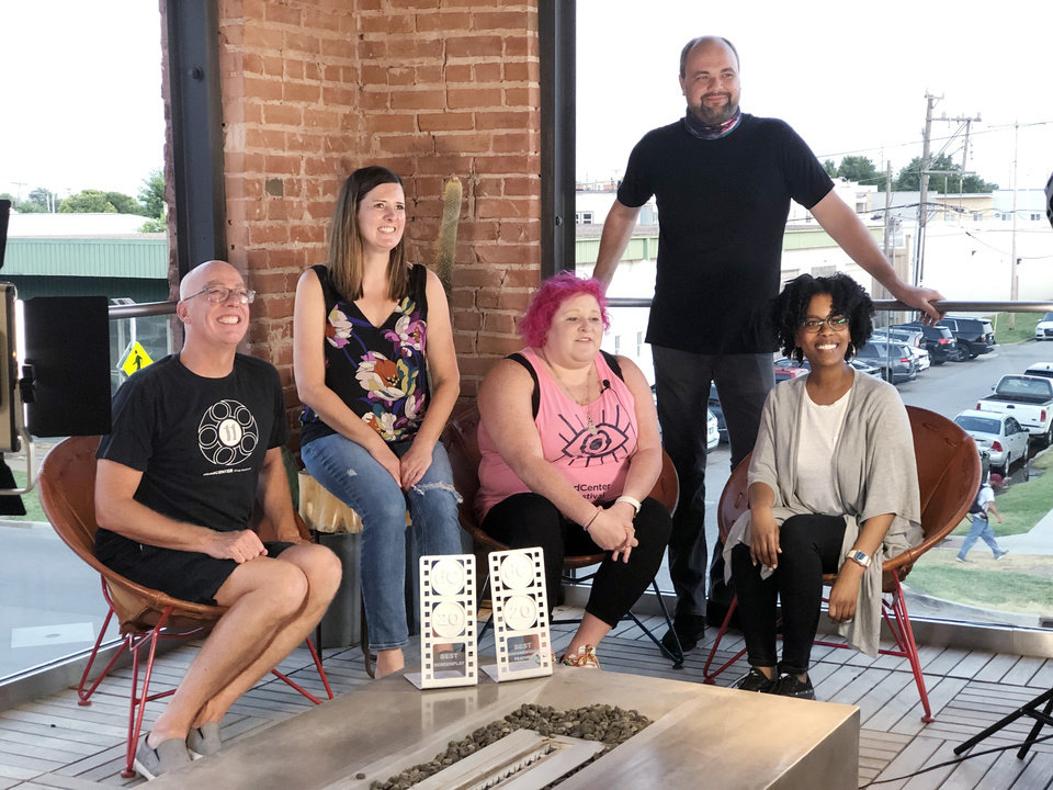 Photo - Lance McDaniel, Sara Thompson, Alyx Picard Davis, Stephen Tyler, Krystal Yoseph. PHOTO BY DENNIS SPIELMAN