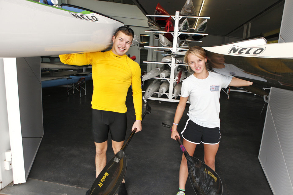 Dylan Puckett, 16, and Bria Cornforth, 12, are two of the top kayakers in the country in their respective age groups. Photo by Paul B. Southerland, The Oklahoman