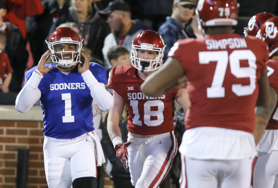 Photo - Oklahoma's Jalen Hurts (1) smiles after running for a touchdown during the University of Oklahoma's (OU) spring football game at Gaylord Family-Oklahoma Memorial Stadium in Norman, Okla., Friday, April 12, 2019. Photo by Bryan Terry, The Oklahoman