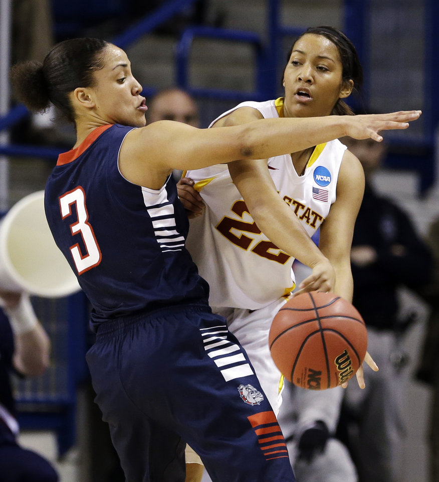 Photo - Gonzaga's Haiden Palmer (3) defends Iowa State's Brynn Williamson in the first half during a first-round game in the women's NCAA college basketball tournament in Spokane, Wash., Saturday, March 23, 2013. (AP Photo/Elaine Thompson)
