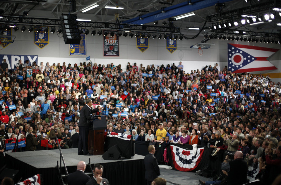 President Barack Obama speaks to supporters at Springfield High School during a campaign event, Friday, Nov. 2, 2012, inSpringfield, Ohio. (AP Photo/Pablo Martinez Monsivais)