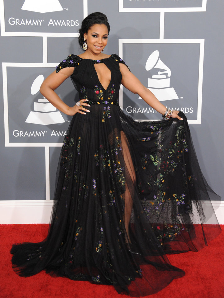 Photo - Ashanti arrives at the 55th annual Grammy Awards on Sunday, Feb. 10, 2013, in Los Angeles.  (Photo by Jordan Strauss/Invision/AP)