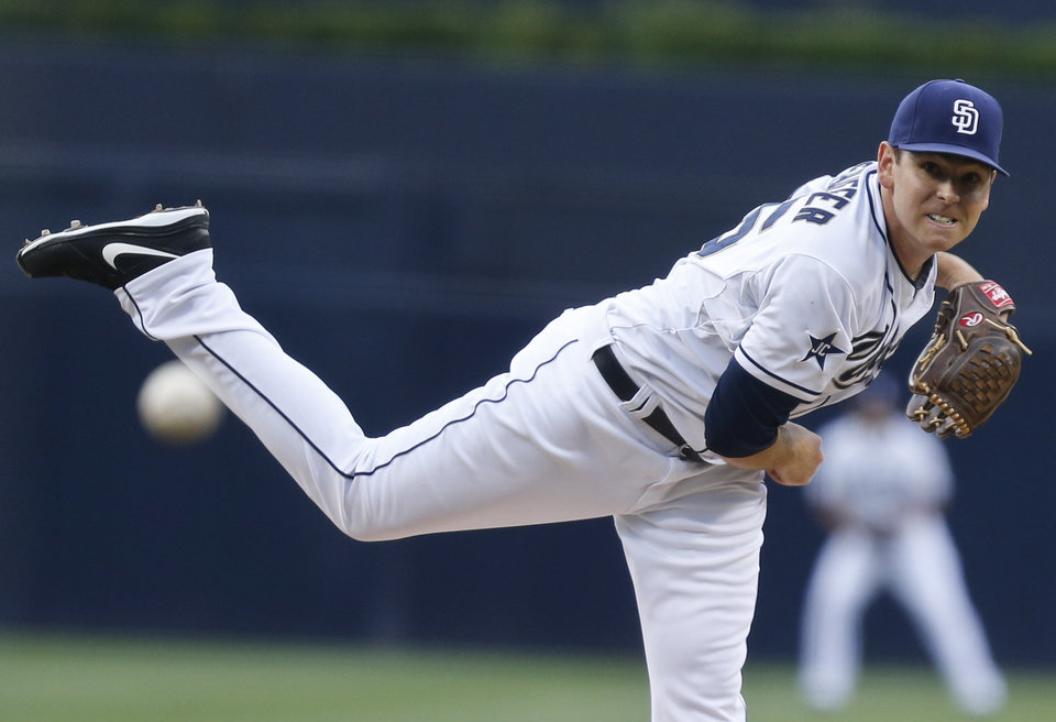 Photo - San Diego Padres starter Tim Stauffer works against the Pittsburgh Pirates during the first inning of a baseball game Monday, June 2, 2014, in San Diego. (AP Photo/Lenny Ignelzi)