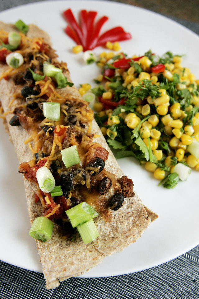 Photo - Perfect lunch per food pyramid standards. Beef and black bean burritos with southwest corn salad with cilantro and red pepper by Becky Varner, RD, LD Tuesday, Jan. 6, 2009 in Edmond, Ok. BY JACONNA AGUIRRE, THE OKLAHOMAN. ORG XMIT: KOD
