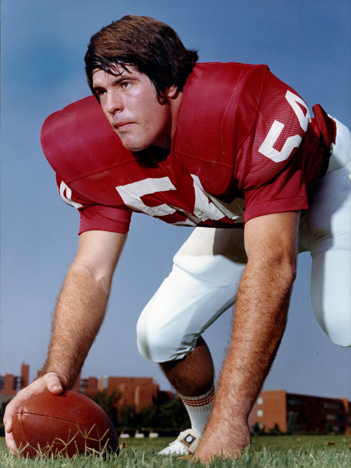 Photo - COLLEGE FOOTBALL: University of Oklahoma center Tom Brahaney poised for action in the color staff photo probably taken in August of 1972. Staff COLOR photo probably taken by Al McLaughlin in August of 1972; photo ran in the 9/3/72 Daily Oklahoman. File:  Football/OU/Tom Brahaney/1972