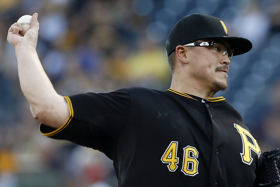 Photo - Pittsburgh Pirates starting pitcher Vance Worley (46) throws against the New York Mets in the first inning of the baseball game on Thursday, June 26, 2014, in Pittsburgh. (AP Photo/Keith Srakocic)