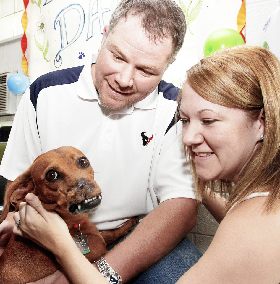 Daisy, a dachshund, greets her new owners, Eric and Jane Taylor, on Tuesday.   PHOTO BY SHERRY BROWN, Tulsa World