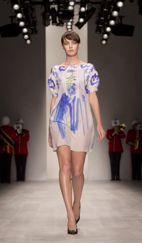 Photo -   A model wears a design from the Antoni and Alison Spring/Summer 2013 collection during London Fashion Week, Friday, Sept. 14, 2012. (AP Photo/Joel Ryan)