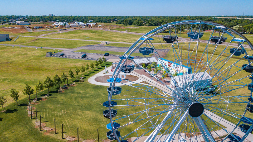 Photo -  Aerial image of the Wheeler Ferris Wheel in Oklahoma City. [Dave Morris/The Oklahoman]