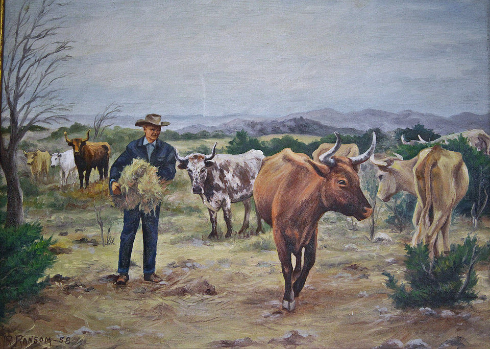 COLLINGS CASTLE / ELLSWORTH COLLINGS: A painting of the cattle farm that was located at the historic Collings Castle located in Turner Falls Park on Thursday, April 14, 2011, in Davis, Okla. Photo by Chris Landsberger, The Oklahoman ORG XMIT: KOD