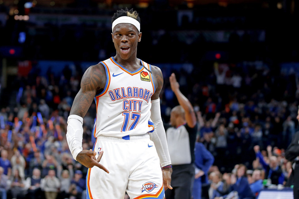 Photo - Oklahoma City's Dennis Schroder (17) gestures after making a basket during an NBA basketball game between the Oklahoma City Thunder and the Cleveland Cavaliers at Chesapeake Energy Arena in Oklahoma City, Wednesday, Feb. 5, 2020. Oklahoma City won 109-103. [Bryan Terry/The Oklahoman]