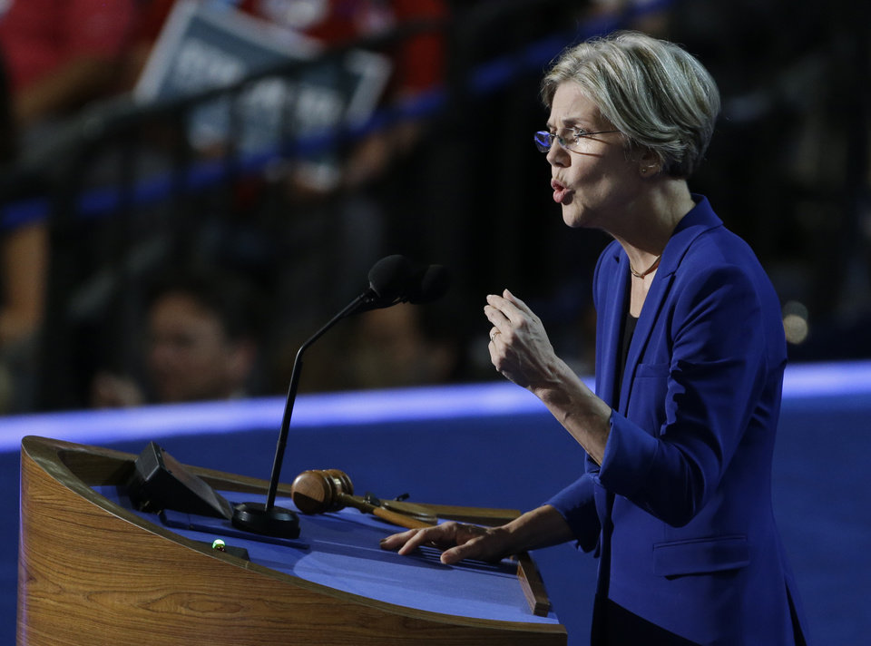Photo - Senate candidate from Massachusetts Elizabeth Warren speaks to delegates at the Democratic National Convention in Charlotte, N.C., on Wednesday, Sept. 5, 2012. (AP Photo/Lynne Sladky)  ORG XMIT: DNC181