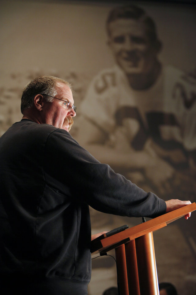 Philadelphia Eagles head coach Andy Reid pauses while speaking during a media availability at their NFL football training facility Monday, Nov. 12, 2012 in Philadelphia. The Eagles' 38-23 loss to Dallas on Sunday was their fifth straight, the longest losing streak in Reid's 14 seasons. (AP Photo/ Joseph Kaczmarek)
