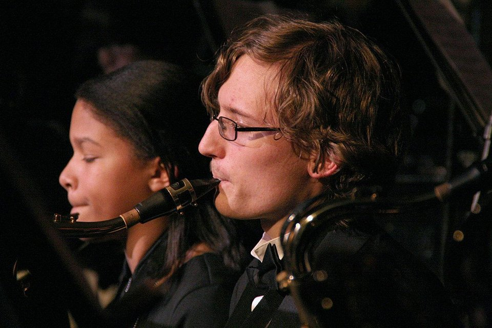 Hannah Key, left, and David Sprehe, members of the Putman City High School Wind Symphony, perform during the school's winter concert. The event included performances from the school's wind symphony, symphonic band and jazz ensemble. Photos by Terry Groover, The Oklahoman