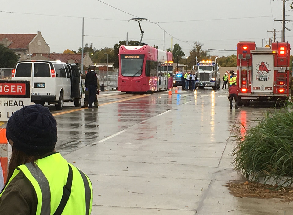Photo - Embark transit and fire, police and ambulance services conducted an emergency drill Oct. 31 in preparation for the beginning of Oklahoma City streetcar service in December. [The Oklahoman Archive]