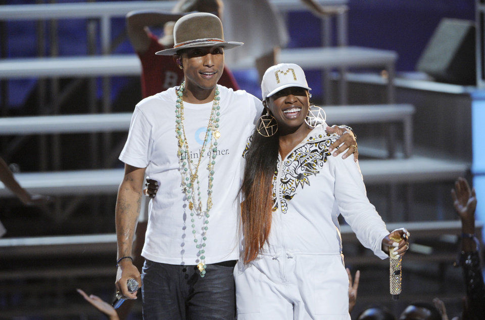 Photo - Pharrell Williams, left, and Missy Elliott perform at the BET Awards at the Nokia Theatre on Sunday, June 29, 2014, in Los Angeles. (Photo by Chris Pizzello/Invision/AP)