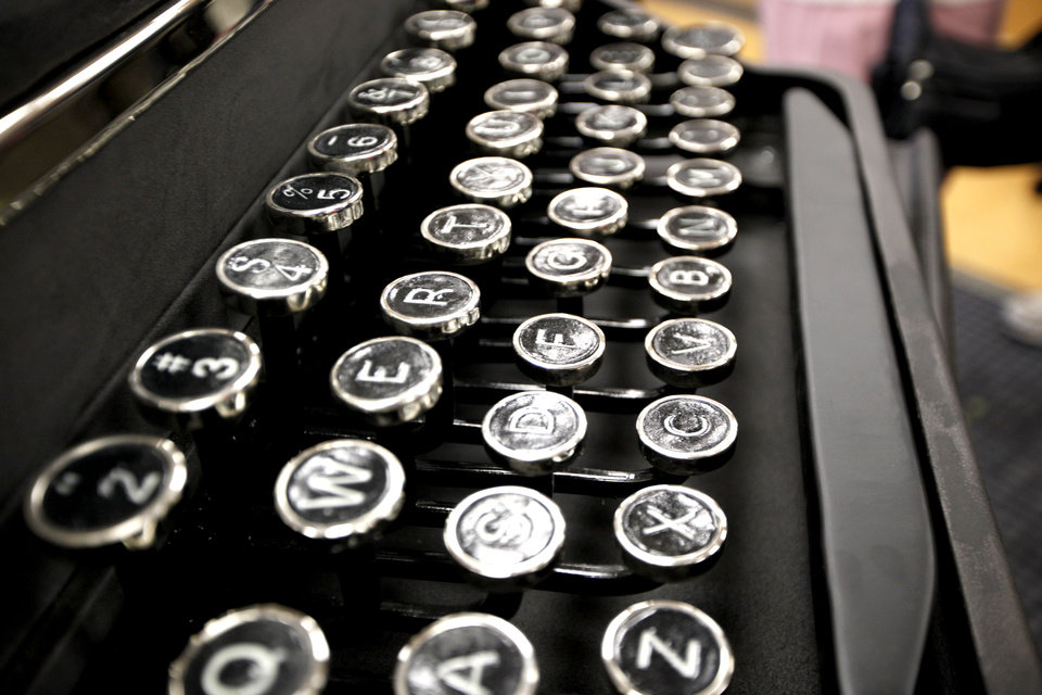 A typewriter on the statue The Invisible Royalty is pictured at the Ralph Ellison Library in Oklahoma City, Thursday, Feb. 9, 2012. Photo by Sarah Phipps, The Oklahoman
