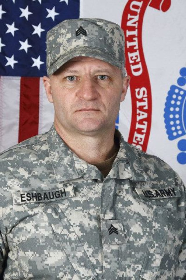 Photo - IRAQ WAR / OKLAHOMA NATIONAL GUARD / CH-47 CHINOOK HELICOPTER ACCIDENT / DEATHS / DAN ESHBAUGH: In this photo released by the Oklahoma National Guard, Sgt. Daniel Eshbaugh, with Co B, 2/149 Aviation, Oklahoma Army National Guard, is pictured. Esbaugh was killed in Iraq Sept. 18, 2008. (AP Photo/Visual Information, Oklahoma National Guard) ORG XMIT: OKSO101
