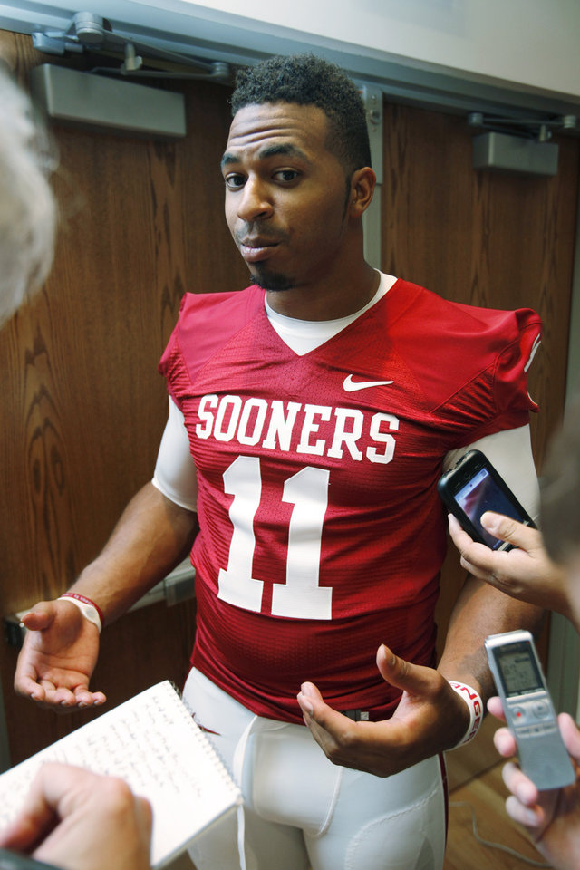 R. J. Washington (11) speaks with the media during the Meet the Sooners event at the University of Oklahoma on Saturday, Aug. 4, 2012, in Norman, Okla.  Photo by Steve Sisney, The Oklahoman