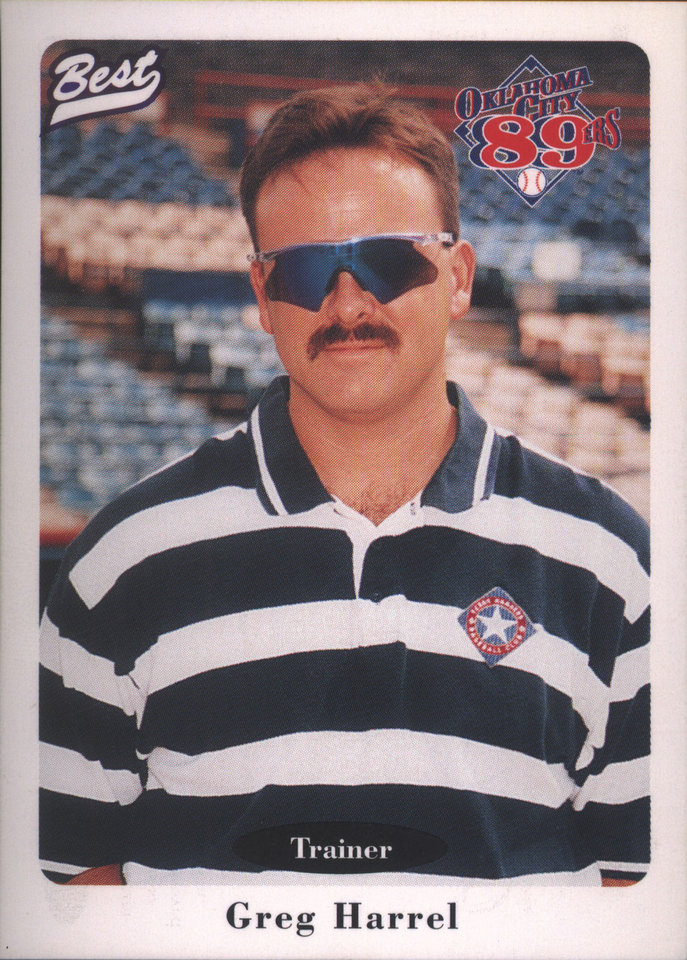 Baseball card in 1996 for Greg Harrel, trainer for the Oklahoma City 89ers.  <strong>photo provided - photo provided</strong>