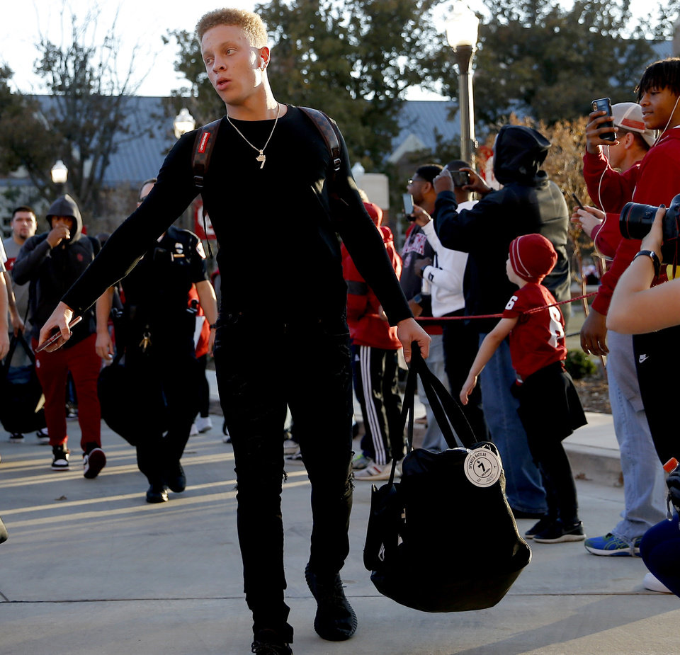 Photo - Oklahoma's Spencer Rattler arrives for last year's game against Iowa State. Rattler made his first road Big 12 start Saturday night, throwing for 300 yards but the Sooners fell 37-30 to the Cyclones. [Bryan Terry/The Oklahoman]